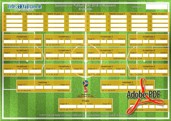 WM Spielplan zum Download und Ausdrucken als PDF | ⚽ FIFA WM 2018
