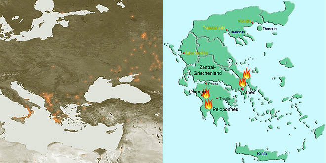 Karte Griechenland Peloponnes.Schwere Waldbrande In Griechenland