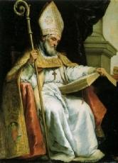 Das gemälde zeigt isidor von sevilla und wurde von bartolomé esteban
