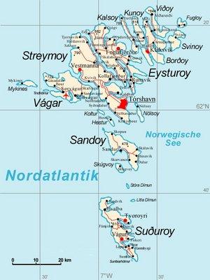 Färöer Inseln Karte.Färöer